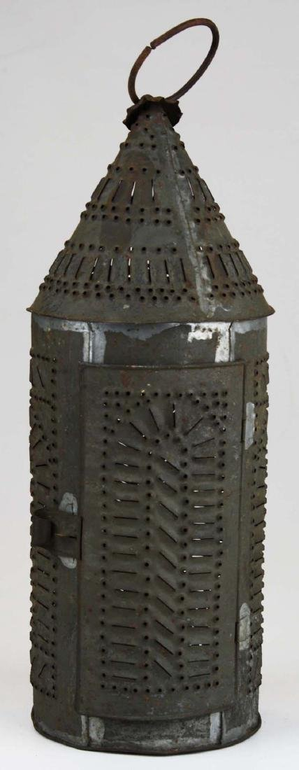 early 19th c pierced tin candle lantern