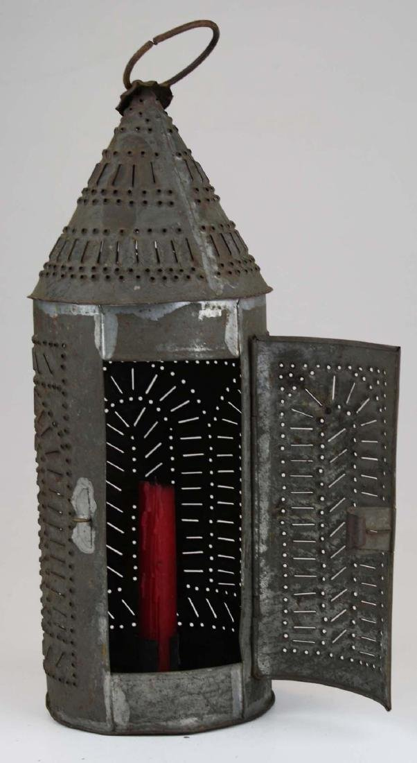 early 19th c pierced tin candle lantern - 2