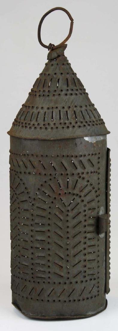 early 19th c pierced tin candle lantern - 3