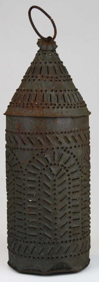early 19th c pierced tin candle lantern - 4