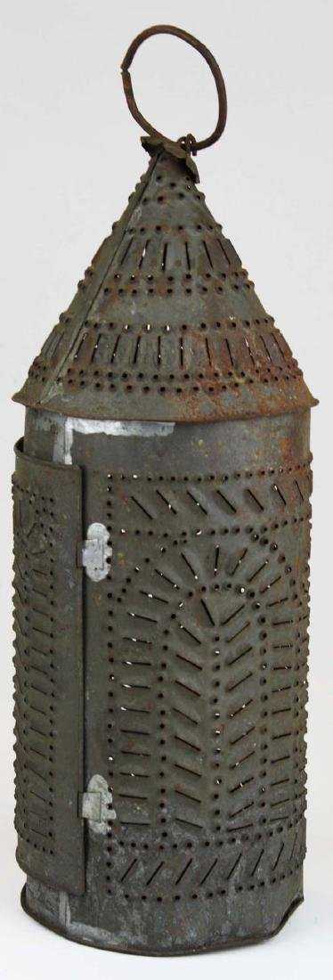 early 19th c pierced tin candle lantern - 5