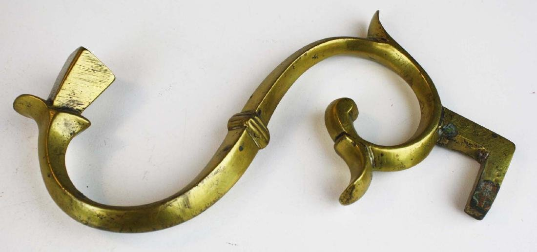 pr of early 19th c brass candlestick wall brackets - 6