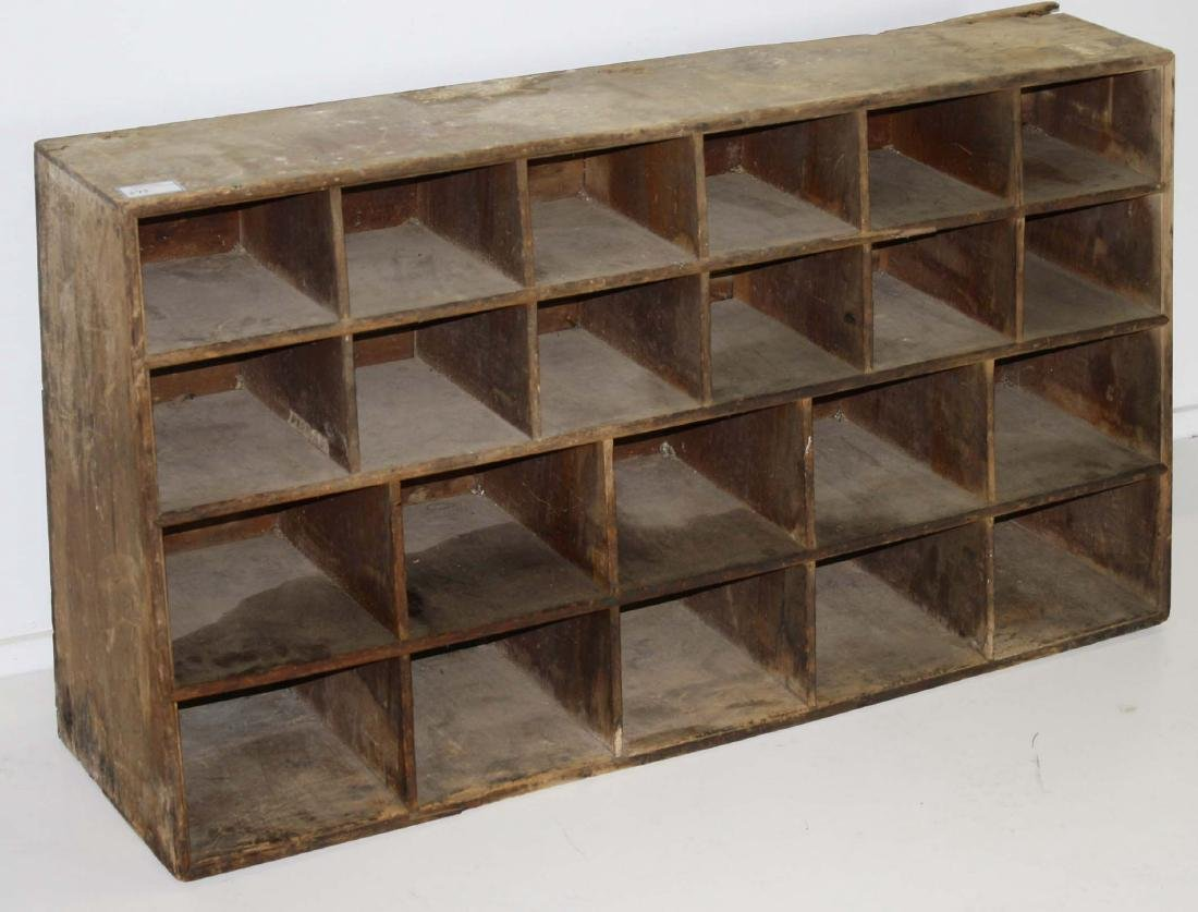19th c canted pine seed or parts cabinet