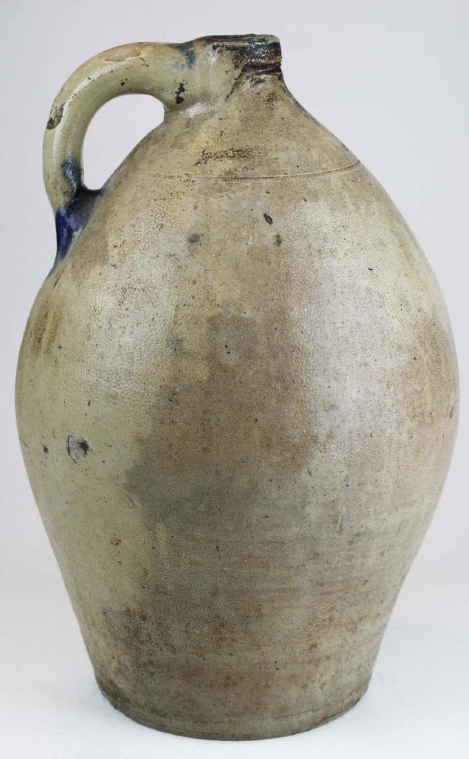 early 19th c 3 gal ovoid stoneware jug w/ splash of