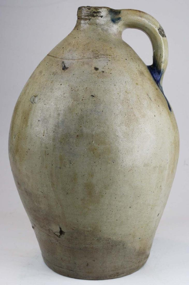 early 19th c 3 gal ovoid stoneware jug w/ splash of - 3