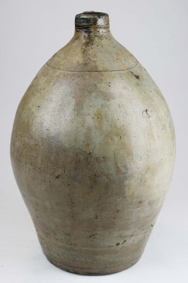 early 19th c 3 gal ovoid stoneware jug w/ splash of - 4