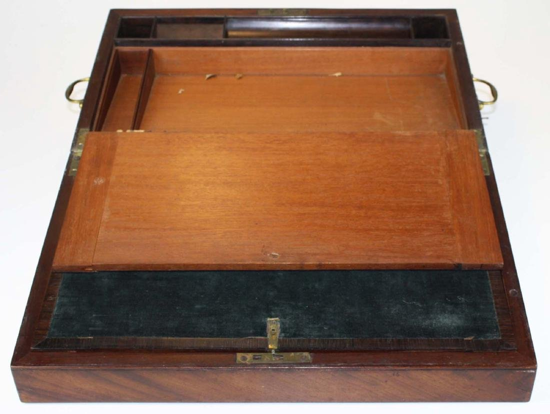 19th c mahogany lap desk with locking side drawer - 5
