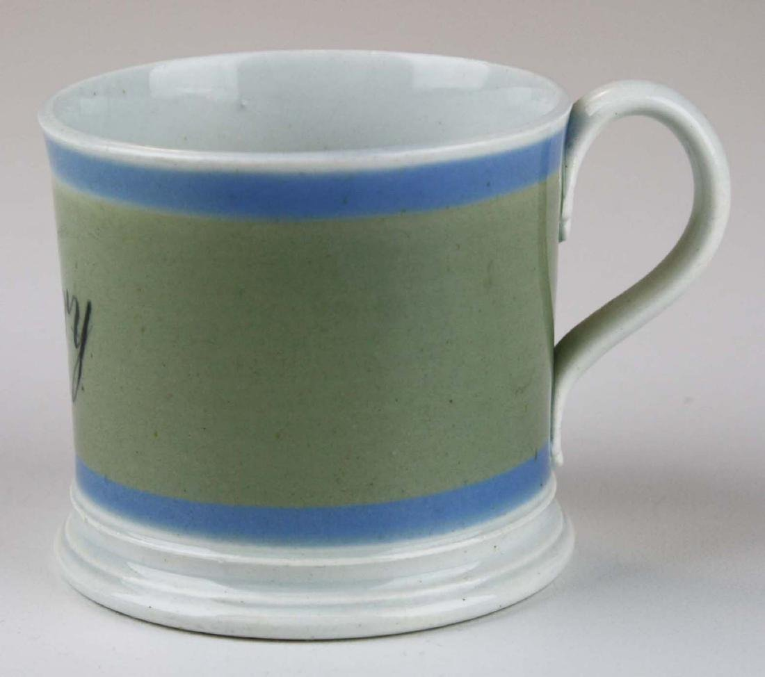 19th c. Mochaware childs presentation mug with - 3