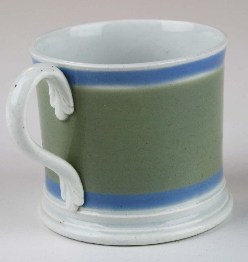 19th c. Mochaware childs presentation mug with - 5