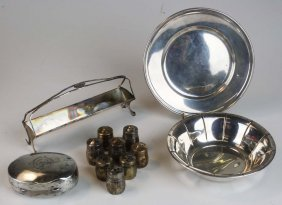 lot of sterling silver holloware incl. soap case, bowl,