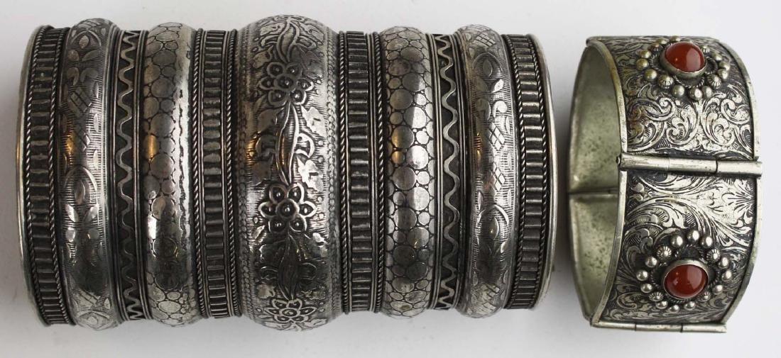 Rajhastani silver hinged cuff bracelet