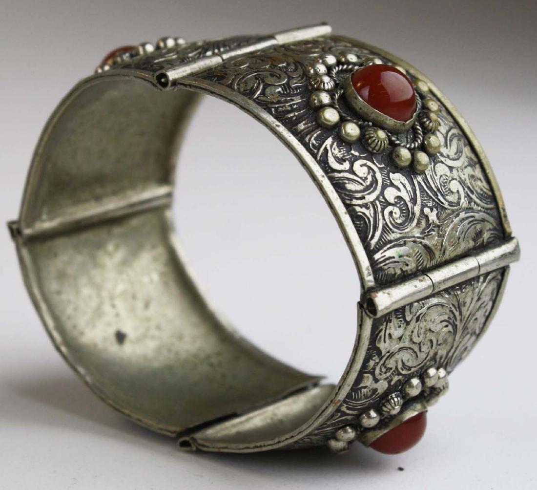Rajhastani silver hinged cuff bracelet - 2