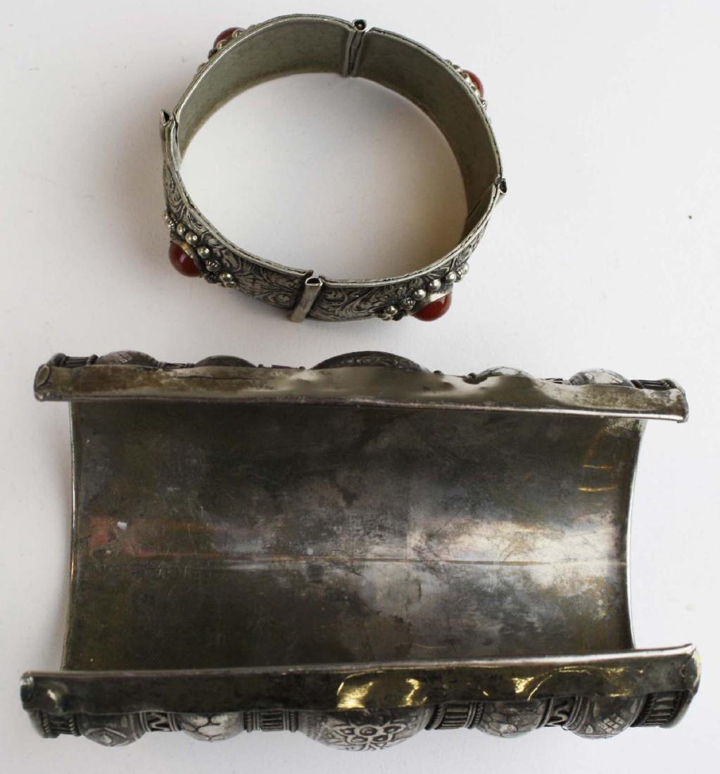 Rajhastani silver hinged cuff bracelet - 4