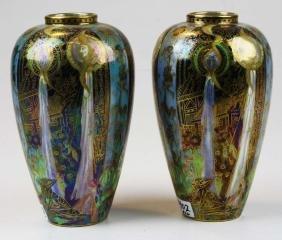 pair of Wedgwood Fairyland Lustre Candlemas Malfrey pot