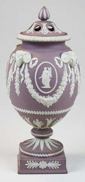 Wedgwood  lilac dip Jasperware covered urn or potpourri