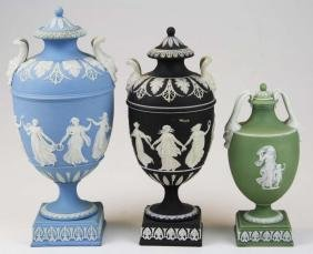 3 Wedgwood covered Jasperware garniture urns