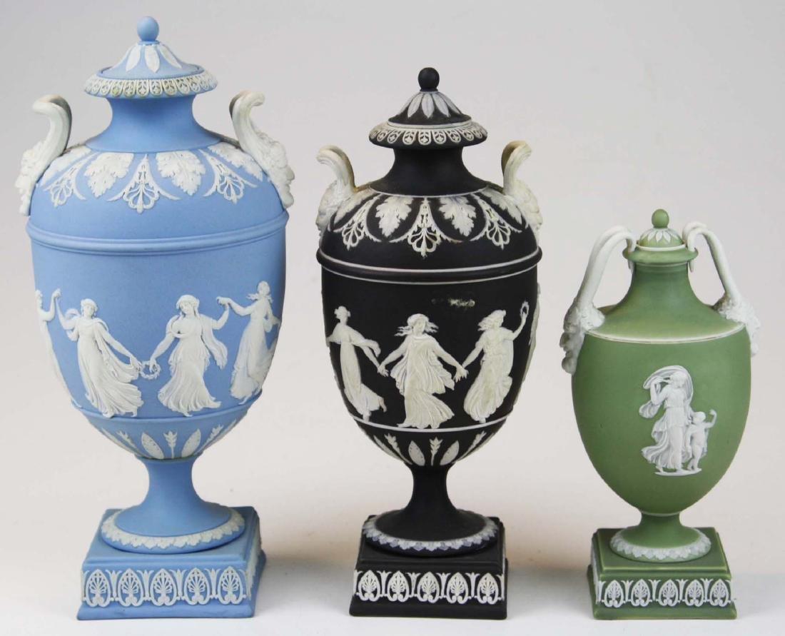 3 Wedgwood covered Jasperware garniture urns