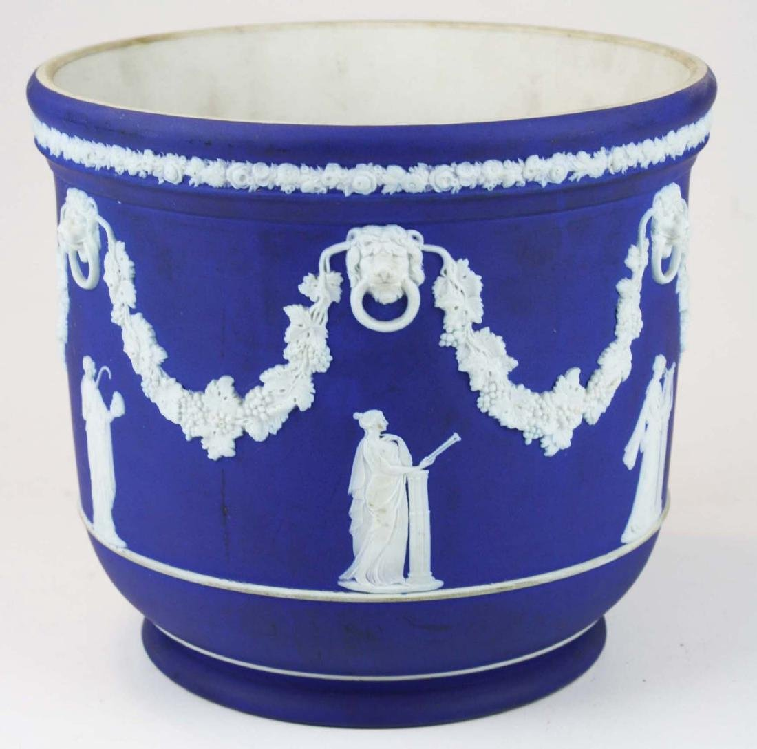 Wedgwood dark blue dip Jasperware jardiniere cache pot