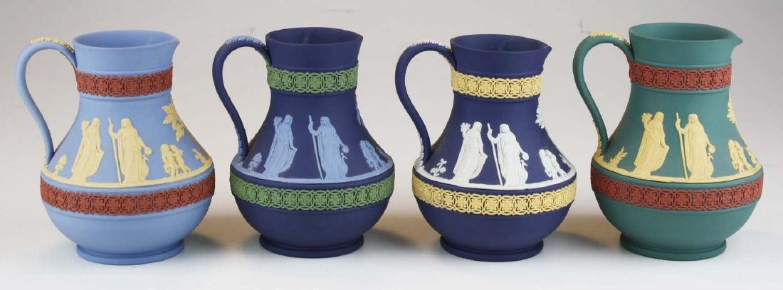 4 Wedgwood tri-color  Jasperware Etruscan pottery jugs