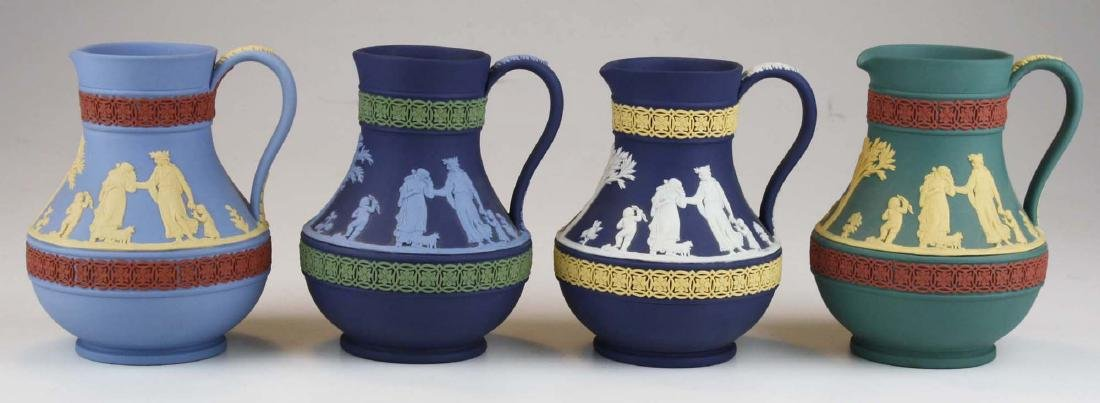 4 Wedgwood tri-color  Jasperware Etruscan pottery jugs - 3