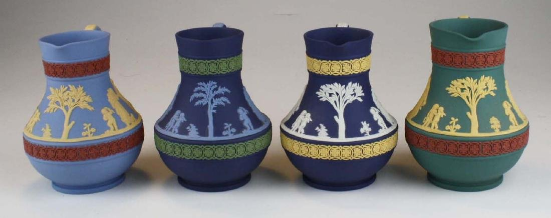 4 Wedgwood tri-color  Jasperware Etruscan pottery jugs - 4