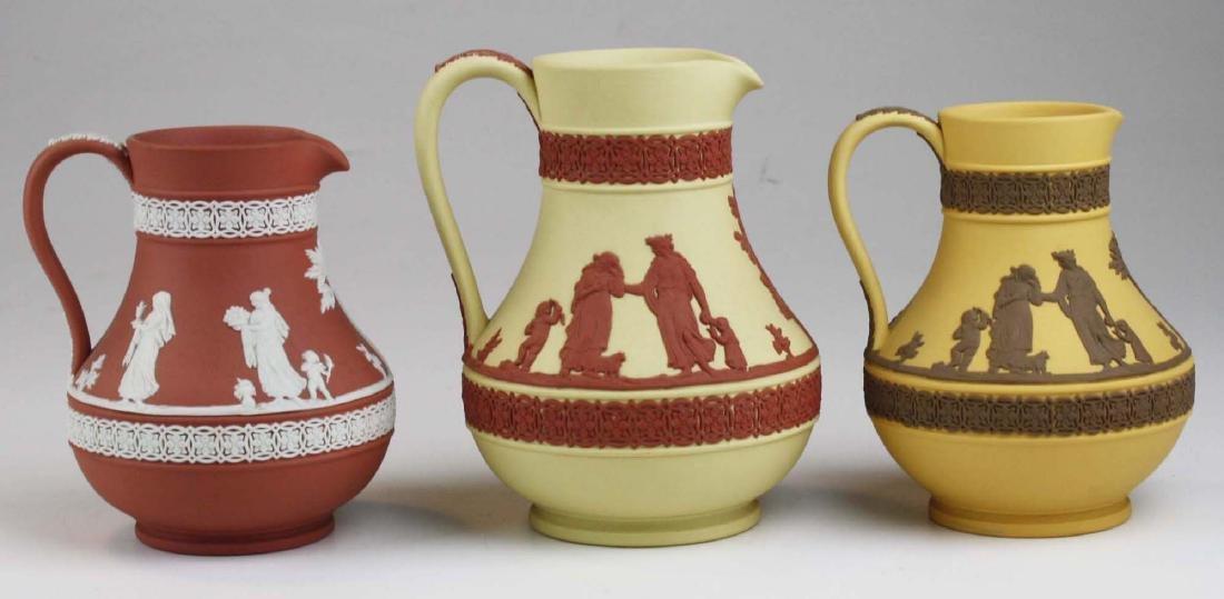 3 Wedgwood Jasperware Etruscan pottery jugs in unusual