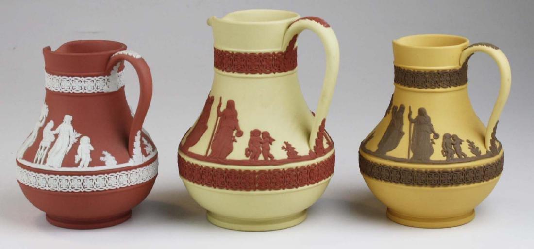 3 Wedgwood Jasperware Etruscan pottery jugs in unusual - 3