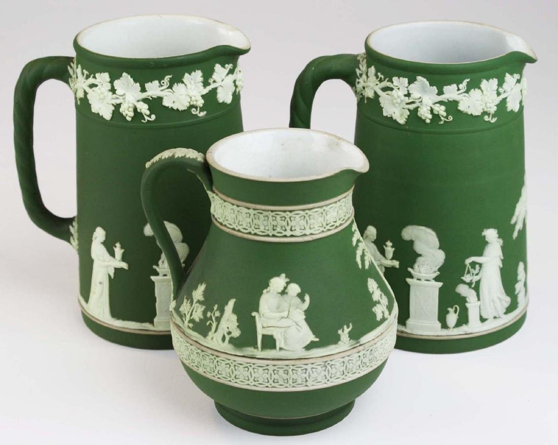 3  Wedgwood olive dip Jasperware jugs incl. Etruscan