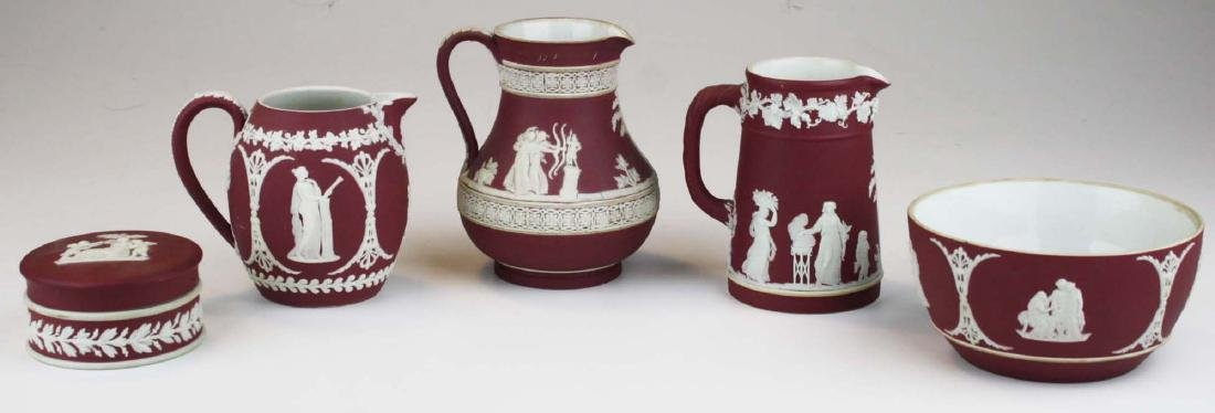 5 pcs scarce Wedgwood crimson dip Jasperware incl. 3