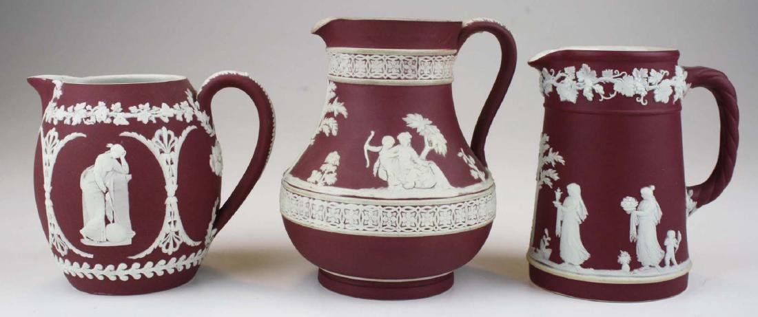 5 pcs scarce Wedgwood crimson dip Jasperware incl. 3 - 5