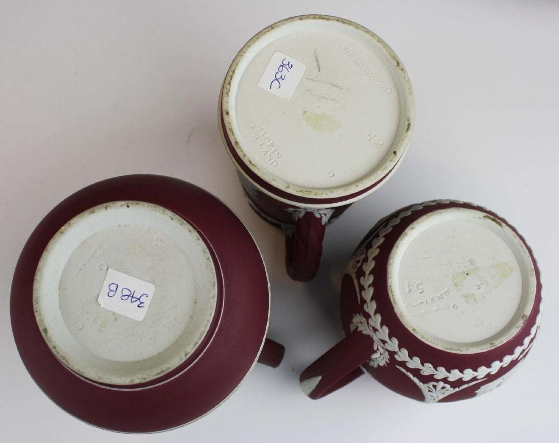 5 pcs scarce Wedgwood crimson dip Jasperware incl. 3 - 8