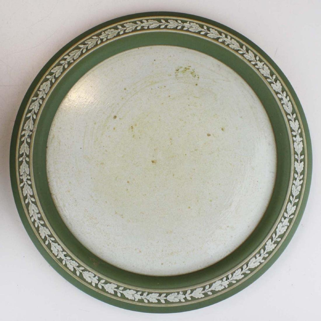 Wedgwood sage green dip Jasperware covered cheese dish - 6
