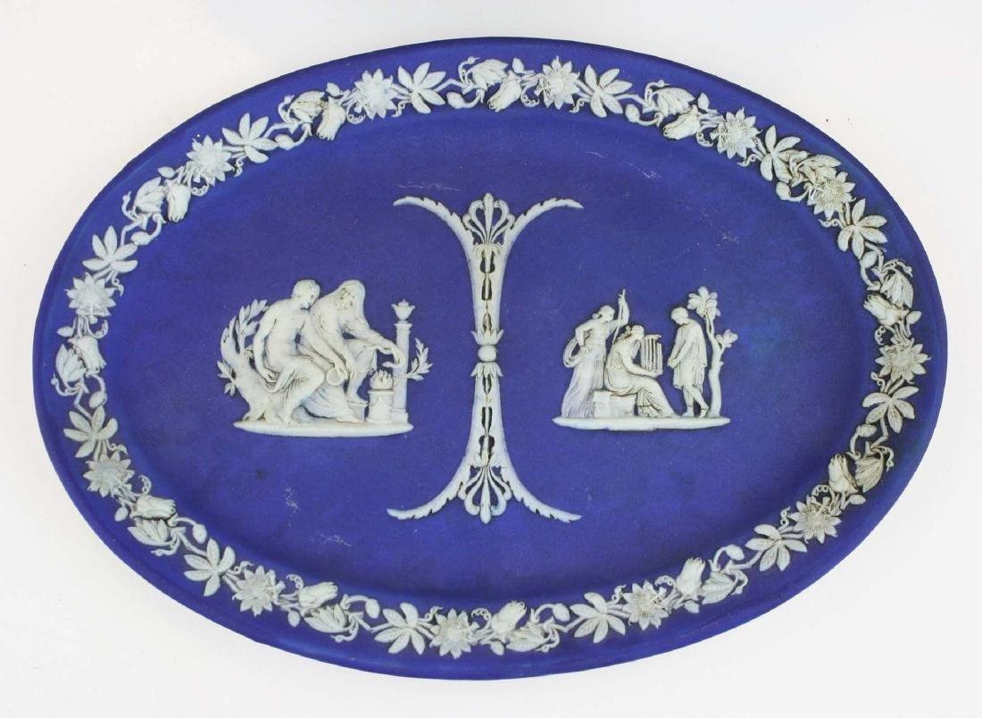 2 Wedgwood cobalt dip Jasperware pottery dishes - 2