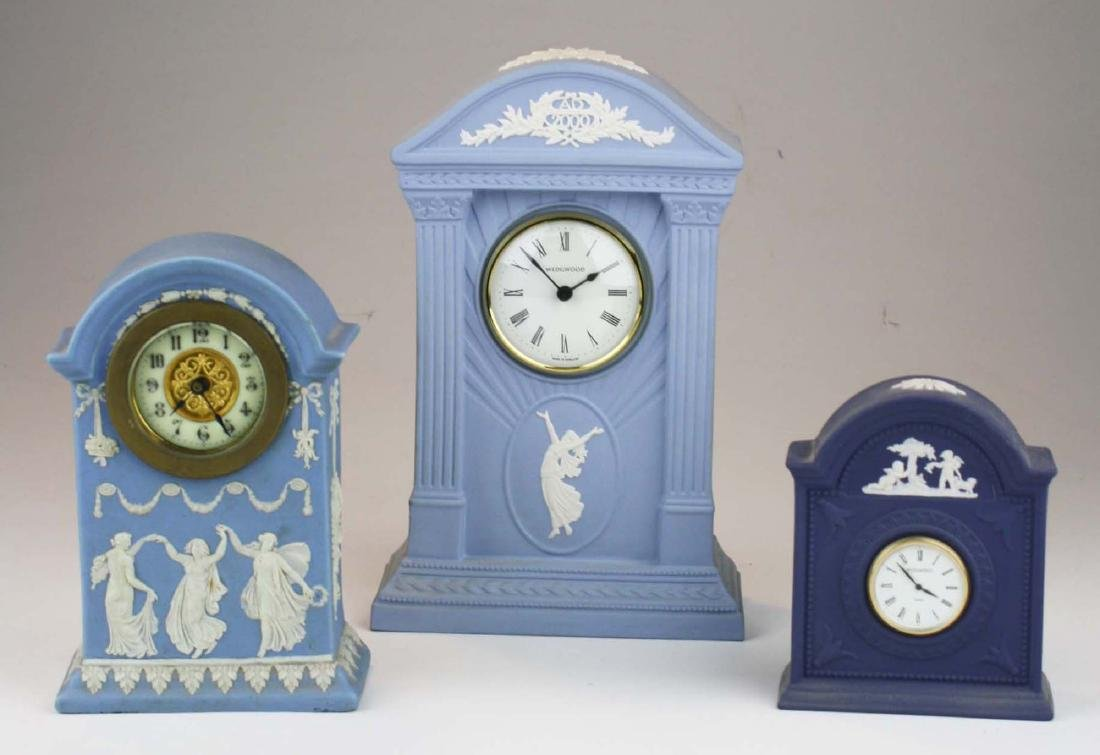 3 Wedgwood Jasperware pottery cased desk clocks