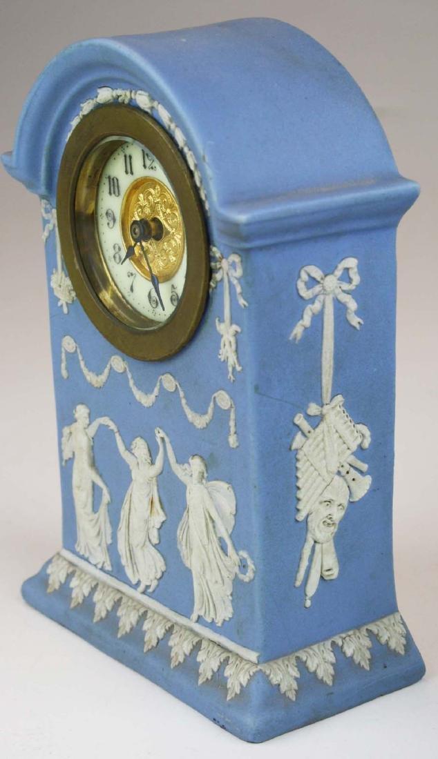 3 Wedgwood Jasperware pottery cased desk clocks - 5