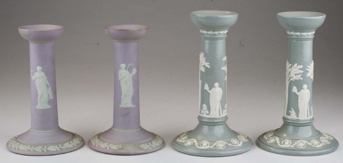 2 pair of Wedgwood candlesticks incl. lilac dip