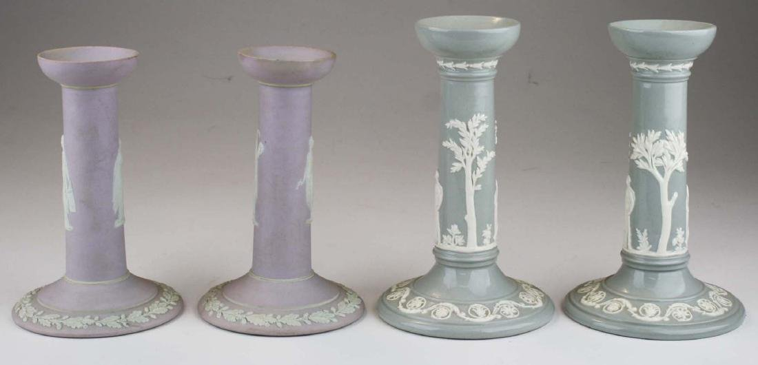 2 pair of Wedgwood candlesticks incl. lilac dip - 2