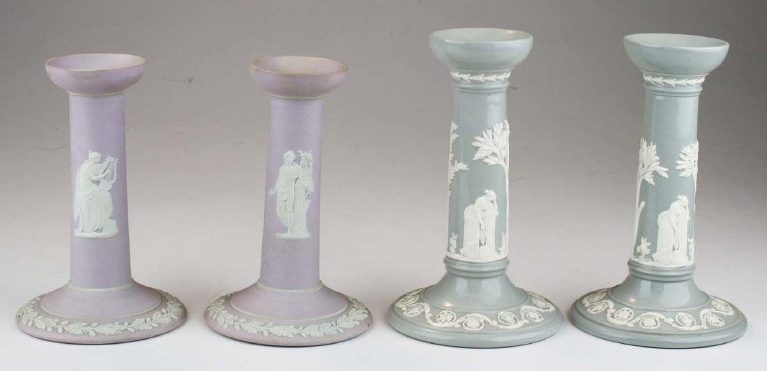 2 pair of Wedgwood candlesticks incl. lilac dip - 3