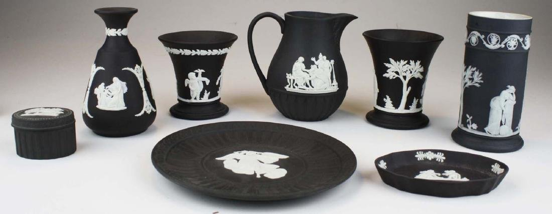 8 pcs Wedgwood black dip Jasperware tableware including