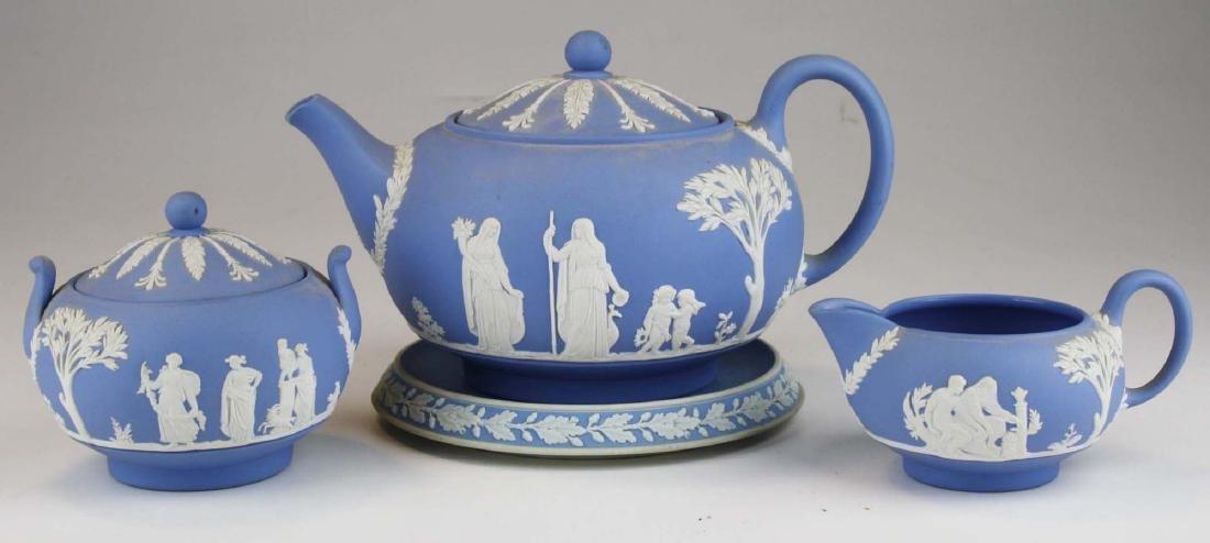 Wedgwood solid pale blue Jasperware 3pc tea set