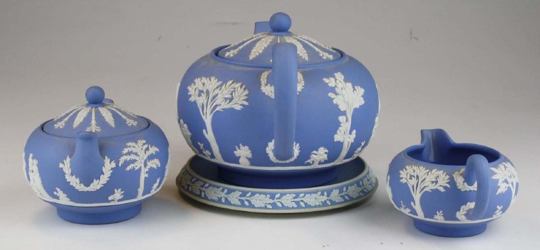 Wedgwood solid pale blue Jasperware 3pc tea set - 2