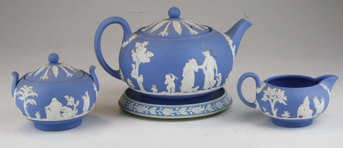 Wedgwood solid pale blue Jasperware 3pc tea set - 3