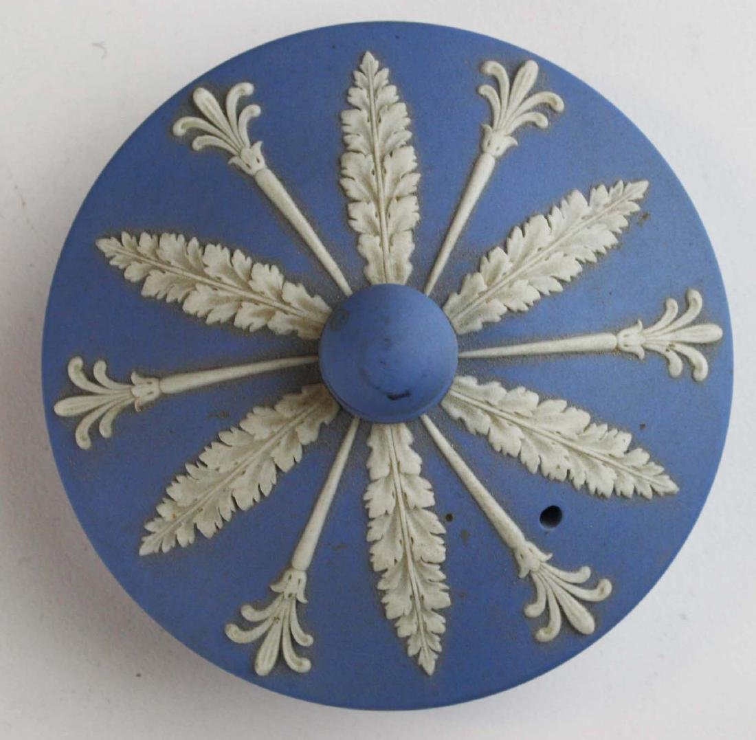 Wedgwood solid pale blue Jasperware 3pc tea set - 5