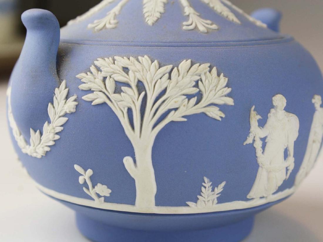Wedgwood solid pale blue Jasperware 3pc tea set - 7