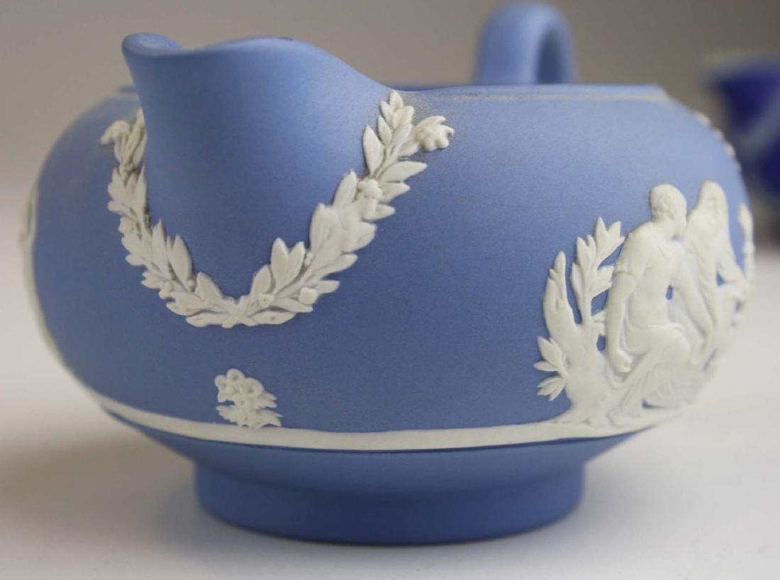 Wedgwood solid pale blue Jasperware 3pc tea set - 8