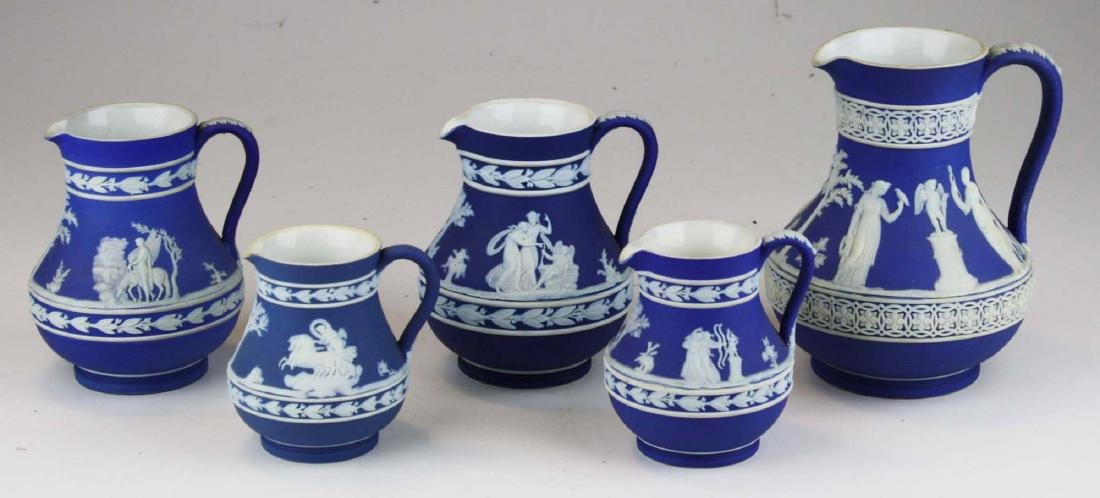 lot of 5 Wedgwood cobalt blue dip Jasperware Etruscan