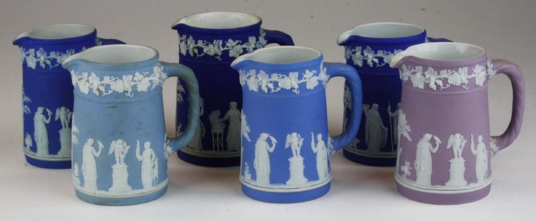 6 small Wedgwood  Jasperware Trojan jug cream pitchers