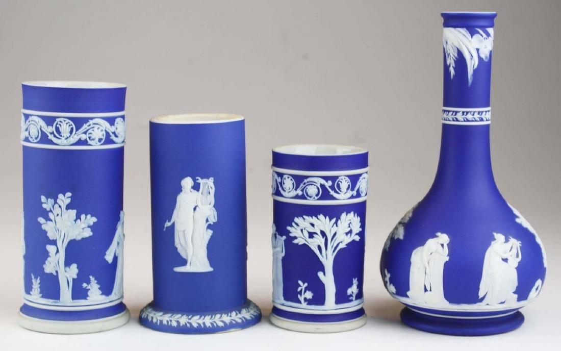 4 Wedgwood cobalt blue dip  Jasperware vases including