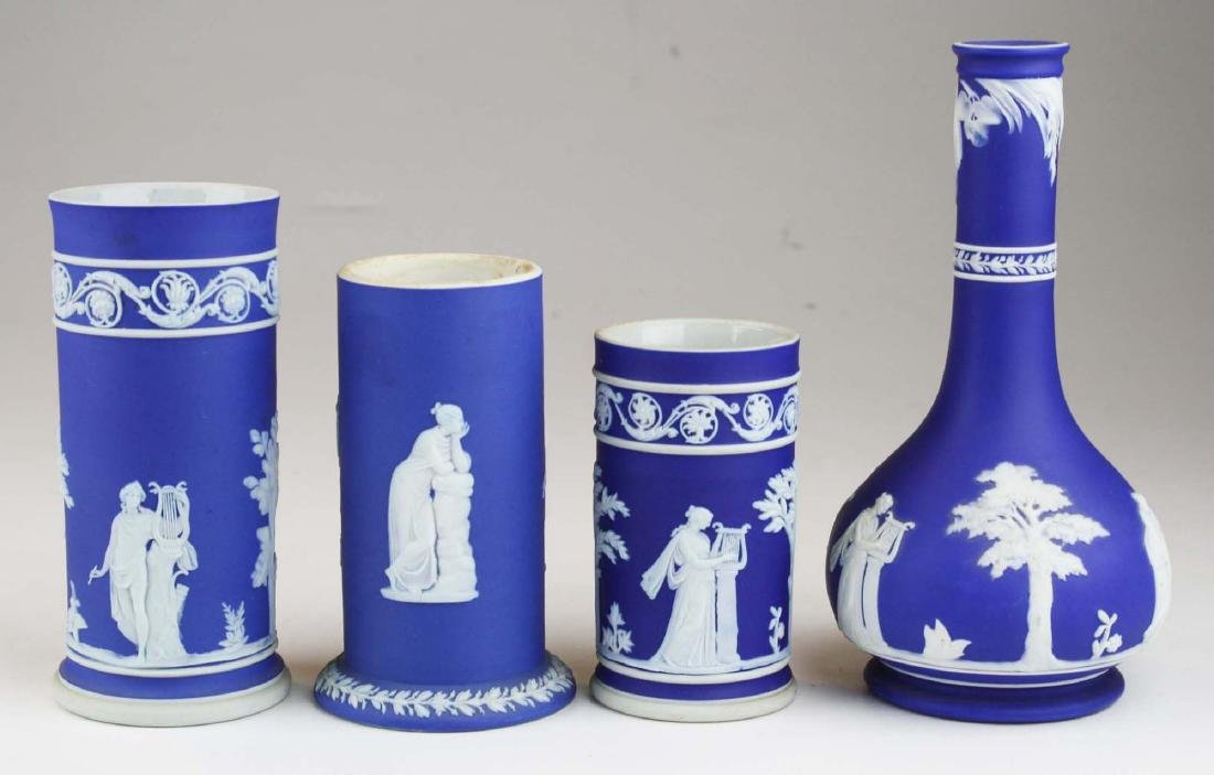 4 Wedgwood cobalt blue dip  Jasperware vases including - 2