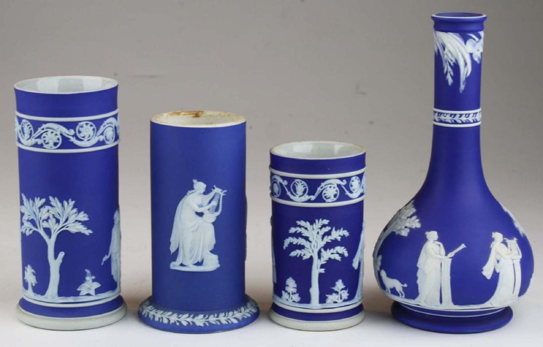 4 Wedgwood cobalt blue dip  Jasperware vases including - 3